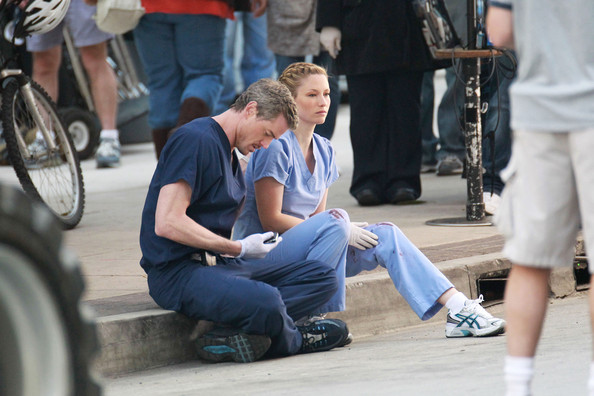 Chyler Leigh Eric Dane consoles Chyler Leigh's character as the two film an ...