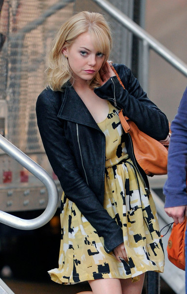 "Actress Emma Stone leaves the set of ""The Amazing Spider-Man"" in Midtown New York City. She is playing the character Gwen Stacey."