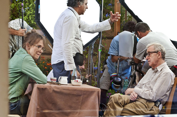 "Actress Judy Davis joins the cast of the new Woody Allen film ""Bop Decameron"" in Italy.  Davis uses an umbrella to shade her from the Italian sun while walking on set.  Allen and Davis shared some laughs while taking a break in-between scenes."