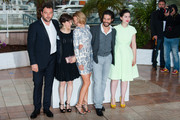 Denis Menochet, Camille Lellouche, actress Lea Seydoux, actor Tahar Rahim, and Director Rebecca Zlotowski attend the photo call for 'Grand Central' at the 66th Cannes Film Festival in Cannes.