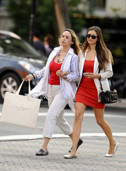 Actress Nina Dobrev seen shopping with her mother in Soho New York City.