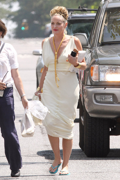 "Actress Sharon Stone is seen dressed as a goddess for her new movie ""Gods Behaving Badly"" in New York.  Stone, 53, carries around her personal items including a Nikon camera.  It is reported that Stone, famous for her role in ""Casino"" will be playing the part of Aphrodite in the new movie."