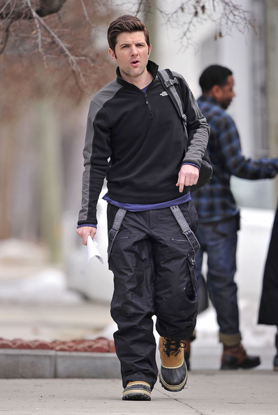 "Adam Scott wears ski clothes as he walks to the set of his new film ""Friends with Kids"", shooting on location in the Bronx. Scott has recently landed a recurring role on TV's hit comedy ""Parks and Recreation""."