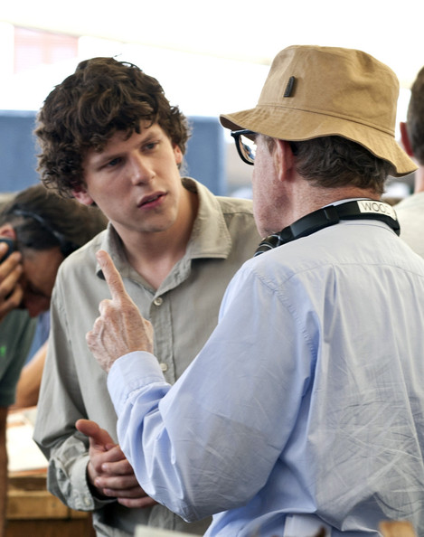 "Jesse Eisenberg is directed by Woody Allen on the set of his movie ""Bop Decameron""  filming all afternoon at the fruit and vegetable market in Rome."