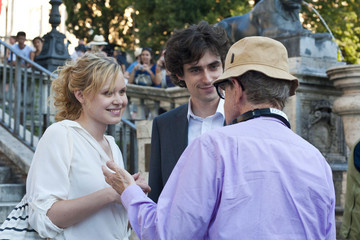 """Woody Allen Alison Pill Allison Pill, Flavio Parenti and Judy Davis perform scenes and take direction on the set of Woody Allen's latest film """"Bop Decameron"""" filming in Rome"""