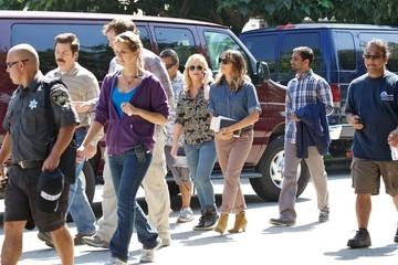 Amy Poehler Nick Offerman Celebs on the Set of 'Parks and Recreation'