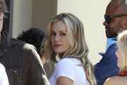 """Anna Paquin, dressed to kill in a figure hugging pencil skirt and tight fitting white top, arrives at the LA Short Film Festival in Hollywood. Anna's stars in a short film """"The Carrier"""" which is premiering at the festival."""