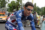 George Hincapie of the USA at the final stage of  the Tour De France 2010 .