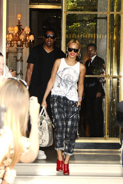 Beyonce and Jay Z leaving their Parisian Hotel as they enjoy a break in the French capital. The couple have reportedly been asked to perform at the Royal wedding.