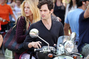 Actress Blake Lively and co-star Penn Badgley team up to film a scene for 'Gossip Girl' in New York City on the back of a mint green Vespa scooter!.