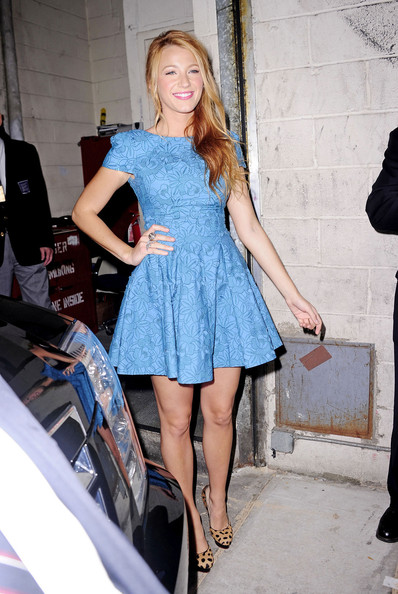 "Blake Lively, promoting her latest film ""The Green Lantern,"" poses outside of the ""Regis & Kelly"" show in NYC. Lively has recently been involved in an alleged nude photo scandal regarding photos taken on a cell phone by someone, Lively claims, is not her."