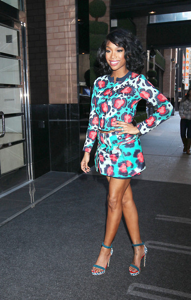 Brandy Norwood arriving at her hotel in New York.
