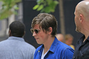Matthew Followill from Kings of Leon band seen checking out from the 'Four Seasons Hotel' while on their way to Oklahoma for a concert in New York City.