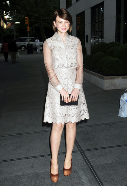 "Carey Mulligan looks demure in ladylike lace at the Junior Spring Benefit for the Lincoln Center Institute at the Gramercy Park Hotel in New York.  The actress is dating Marcus Mumford from the Brit band ""Mumford and Sons"" - who was her childhood penpal."