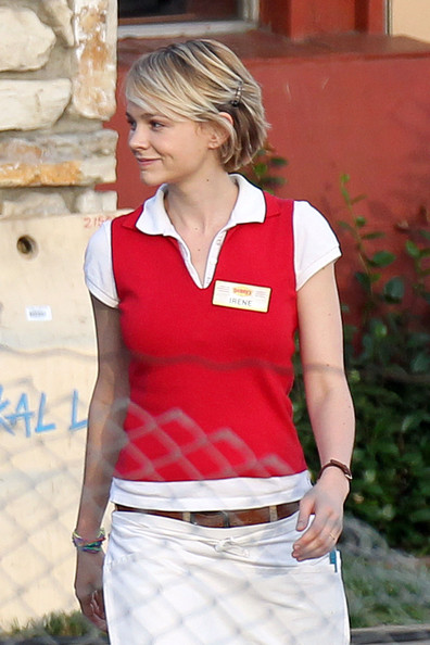 "Carey Mulligan wears a Denny's restaurant uniform while shooting a scene for her upcoming film ""Drive"". Complete with an 'Irene' name tag, Mulligan could be seen dropping off plates of food at a table."