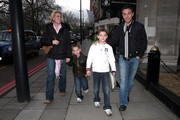"Gino D'Acampo, winner of the UK ""I'm a Celebrity...Get Me out of Here!"", arrives at The Mad Hatter Tea Party, with his wife Jessica and sons Luciano and Rocco. It is an event held annually for 650 disabled children by the ""London Taxidrivers' Fund for Underprivileged Children."