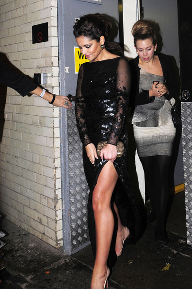 "Cheryl Cole Cheryl Cole leaves the Savoy hotel via the staff entrance! The Girls Aloud singer and ""X-Factor"" judge had attended the Universal Music Brit Award afterparty at the swanky hotel. She was wearing a black sequined Stella McCartney gown."