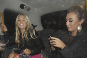 Lauren Goodger, Lauren Pope and Frankie Essex leaving a party at Il Bottaccio restaurant in London.