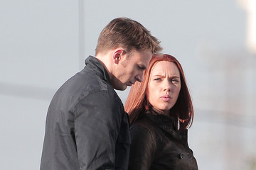 Chris Evans Scarlett Johansson Gets Ready to Kick Some Villain Butt