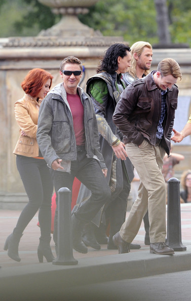 "Chris Evans Actors Scarlett Johansson, Chris Evans, Chris Hemsworth, Robert Downey, Jr., Jeremy Rener, Stellan Skarsgard, Mark Ruffalo, and Tom Middleston seen filming ""The Avengers"" at the Bethesda Fountain in Central Park in NYC."