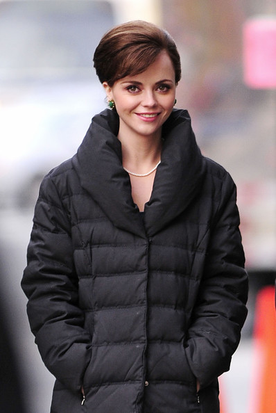 "Christina Ricci looks rather grown up as she and a cast mate bundle up in the cold on the set of their TV pilot ""Pan Am"", filming on location in New York City. The new drama revolves around the pilots and stewardesses working for the once dominant Pan Am Airline."
