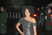 Tupele Dorgu arrives at the 'Fashion for the Brave' event at the Dorchester Hotel in London.