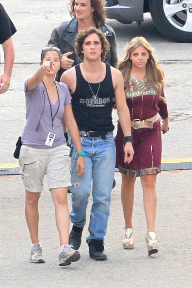 "Diego Boneta is accompanied by Caty Huttanus as he leaves his trailer headed to the ""Rock of Ages"" set."