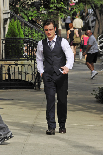 Ed Westwick Ed Westwick prepares to shoot a scene for