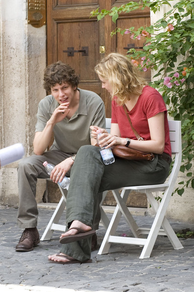 "Jesse Eisenberg on the set of Woody Allen's latest movie, ""Bop Decameron"" currently filming in Rome, Italy."