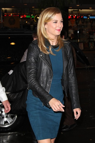 "Emily VanCamp ""Revenge"" star Emily VanCamp goes rock and roll chic in New York City as she is spotted in a leather jacket and a tank dress."