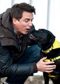 """Entertainer John Barrowman is seen out promoting the Dog Trust, spreading the message """"A dog is for life, not just for Christmas"""". Barrowman happily posed with pups Mouse the Black Labrador and Vincent the Jack Russell Terrier."""