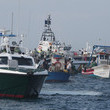 Flotilla Spanish fishermen involve in a stand-off with Royal Navy and police boats after a flotilla made an illegal incursion into British waters Gibraltar