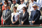 Denis Masseglia, president of the CNOSF, Chantal Jouanno, French minister for sports, Jacques Rogge, IOC President, and his wife Anne Rogge attend the Women's final during the 2011 French Open, second tennis Grand Slam of the year played on clay court, held at the Stade Roland-Garros in Paris.