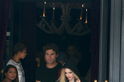 Avril Lavigne and her boyfriend Brody Jenner delight passerby's as they lunch out at L'Avenue in Paris.