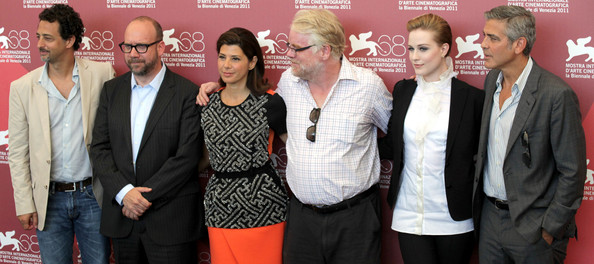 "(L-R) Grant Heslow, Paul Giamatti, Maria Tomei, Philip Seymour Hoffman, Evan Rachel Wood and George Clooney at the photocall for ""The Ides of March"", held as part of the Venice Film Festival 2011."