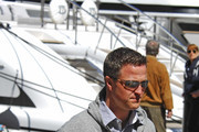 German racing driver Ralf Schumacher out in Saint-Tropez with wife Cora-Caroline Brinkmann and son David. ***NORTH AMERICAN USE ONLY***.