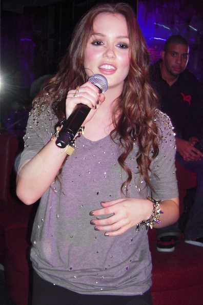 Actress/singer Leighton Meester entertains fans at the opening of Miami's newest nightclub, Klutch. The