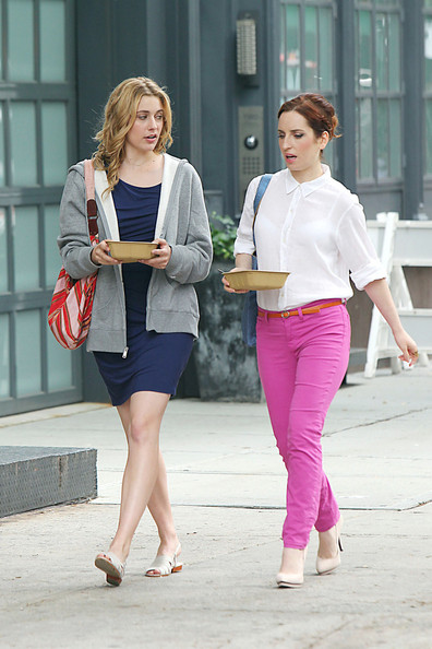 "Greta Gerwig and Zoe Lister Jones on day one of filming on the ""Lola Versus"" film set in Tribeca. The romantic comedy traces the steps of a woman in her late twenties who is dumped by her fiance just before their wedding and co-stars Orlando Bloom."