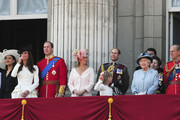 Prince Edward, Earl of Wessex, Sophie Rhys-Jones, Countess of Wessex, Lady Louise Windsor,The Queen Elizabeth II, Princess Anne, Princess Royal, Prince Philip, Duke of Edinburgh, Camilla Parker Bowles, Duchess of Cornwall and Prince Charles, Prince of Wales on the balcony of Buckingham Palace for the Queen's Birthday Parade, the Trooping the Colour. William, the Duke of Cambridge, took part in the parade for the first time while his new wife, Kate watched.