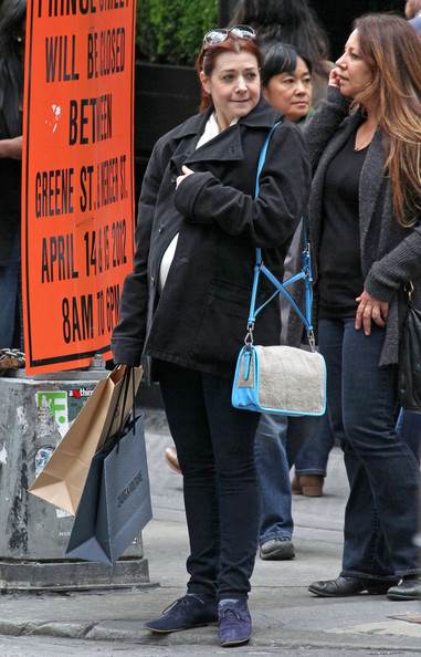 ... is spotted out in SoHo, New York. Heavily pregnant Alyson Hannigan looks ...