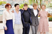 """Bryce Dallas, screenwriter Jason Lew, Gus Vant Sant, Henry Hopper and Mia Wasikowska at the """"Restless"""" photocall for the 64th Annual Cannes Film Festival."""