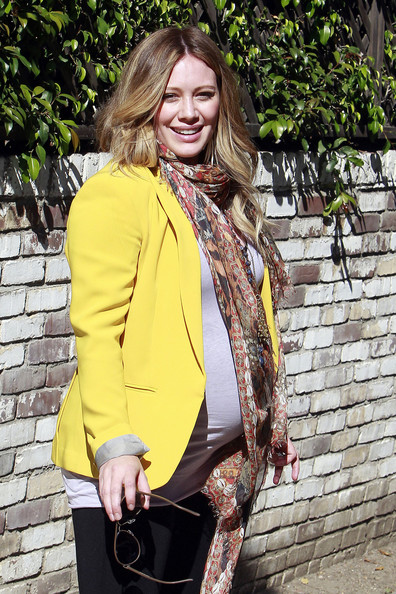 Hilary Duff A heavily pregnant Hilary Duff shows off her full baby bump after getting a check up at a Beverly Hills doctor's office. Duff is expecting her first child with athlete husband Mike Comrie.
