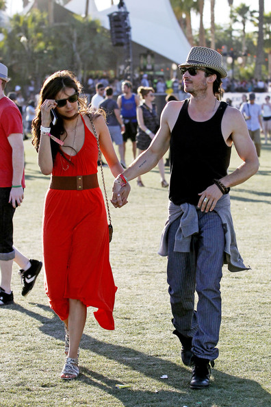 "Ian Somerhalder ""Vampire Diaries"" couple Ian Somerhalder and girlfriend Nina Dobrev look loved up at the Coachella festival 2012."