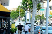 """Jack Black's young son Samuel Jason """"Sammy"""" Black tries to run away from daddy in Beverly Hills.."""