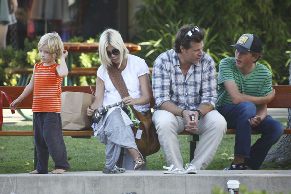 Tori Spelling and Family at the Playground