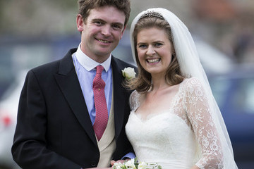 James Meade Prince Harry of Wales attends the wedding of James Meade and Lady Marsham the daughter of Earl of Romney in Gayton