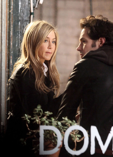 "Jennifer Aniston and costar Paul Rudd film a scene for their new movie 'Wanderlust"" in West Village, New York."