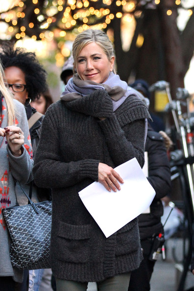 "Jennifer Aniston keeps wrapped up warm whilst filming ""Wanderlust"" on location in Greenwich Village, New York."