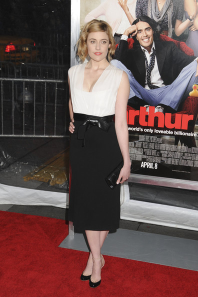"Greta Gerwig at the New York premiere of ""Arthur"" held at the Ziegfeld Theatre."