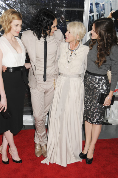"Greta Gerwig, Russell Brand, Helen Mirren and Jennifer Garner at the New York premiere of ""Arthur"" held at the Ziegfeld Theatre."